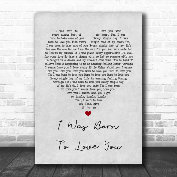 Queen I Was Born To Love You Grey Heart Song Lyric Music Wall Art Print