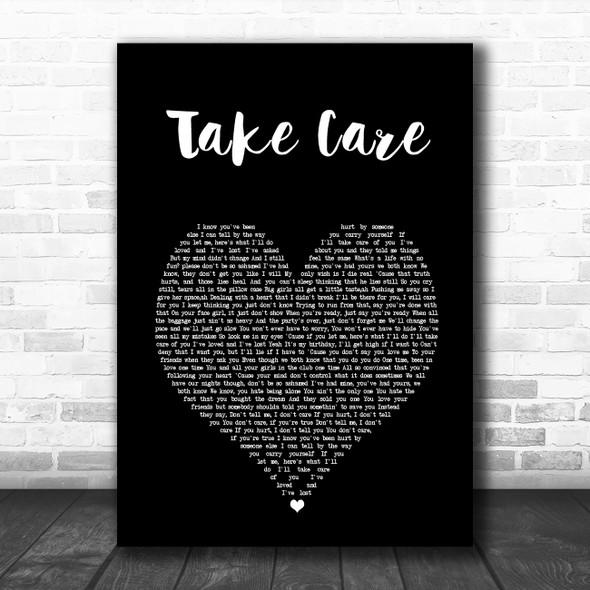 Drake Take Care Black Heart Song Lyric Wall Art Print