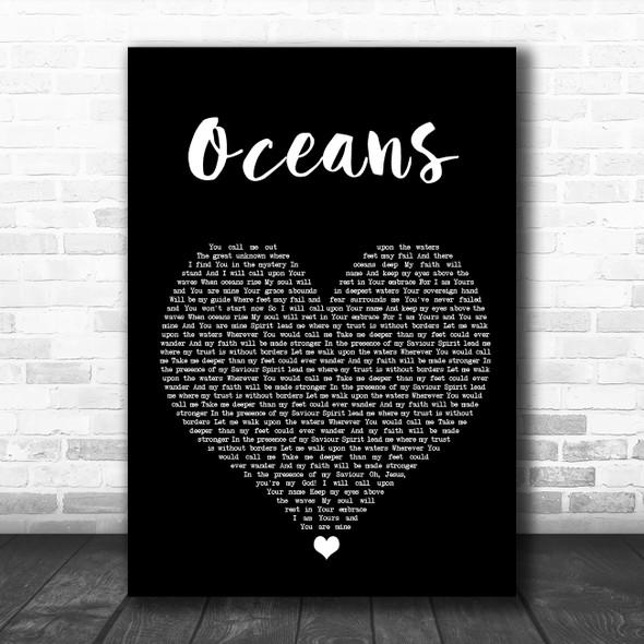 Hillsong United Oceans Black Heart Song Lyric Wall Art Print
