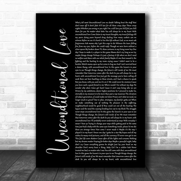 2Pac Unconditional Love Black Script Song Lyric Wall Art Print