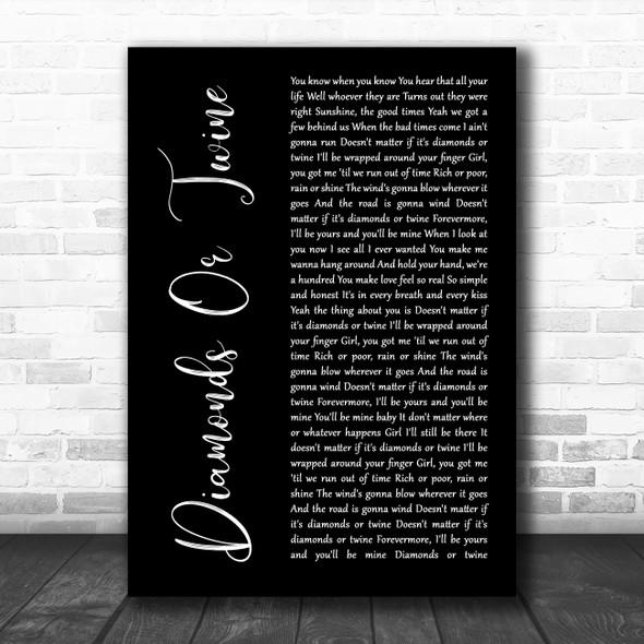Ryan Hurd Diamonds Or Twine Black Script Song Lyric Wall Art Print