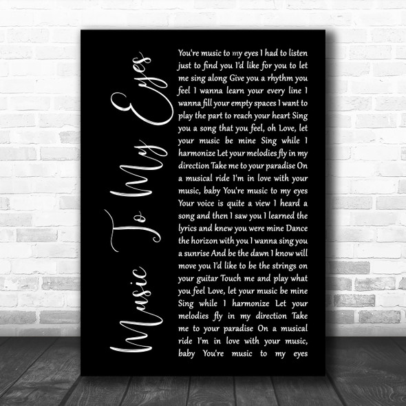 Lady Gaga & Bradley Cooper Music To My Eyes Black Script Song Lyric Wall Art Print
