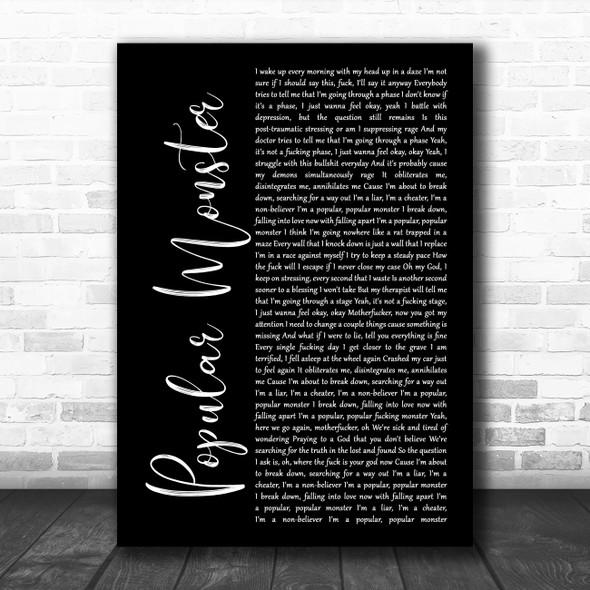 Falling In Reverse Popular Monster Black Script Song Lyric Wall Art Print