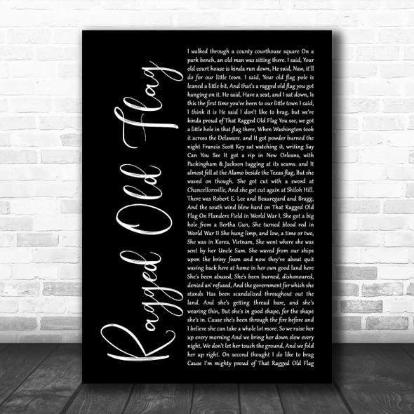 Johnny Cash Ragged Old Flag Black Script Song Lyric Wall Art Print