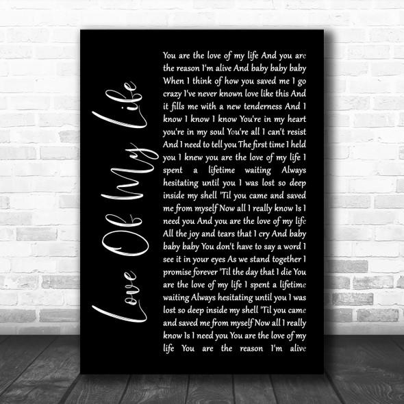 Sammy Kershaw Love Of My Life Black Script Song Lyric Wall Art Print