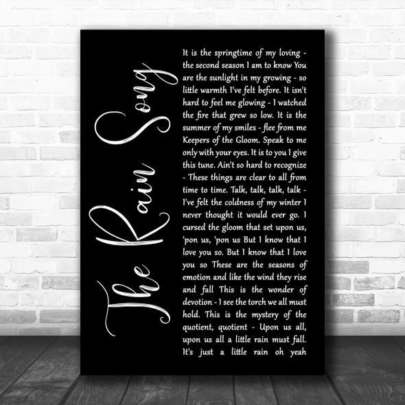 Led Zeppelin The Rain Song Black Script Song Lyric Wall Art Print