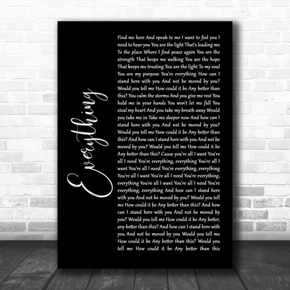 Lifehouse Everything Black Script Song Lyric Wall Art Print