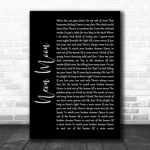 Brooks & Dunn Neon Moon Black Script Song Lyric Wall Art Print