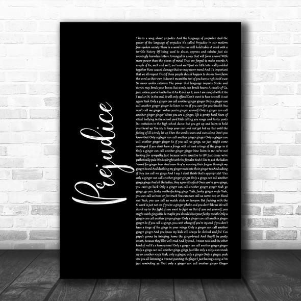 Tim Minchin Prejudice Black Script Song Lyric Wall Art Print