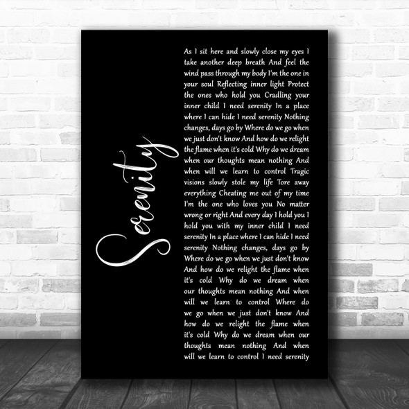 Godsmack Serenity Black Script Song Lyric Wall Art Print