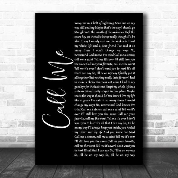 Shinedown Call Me Black Script Song Lyric Wall Art Print