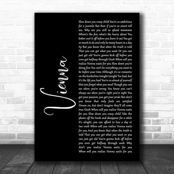 Billy Joel Vienna Black Script Song Lyric Wall Art Print