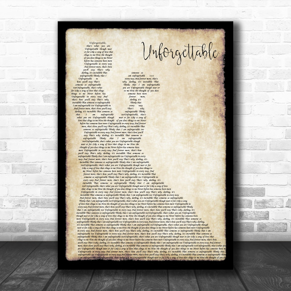 Nat King Cole Unforgettable Man Lady Dancing Song Lyric Wall Art Print