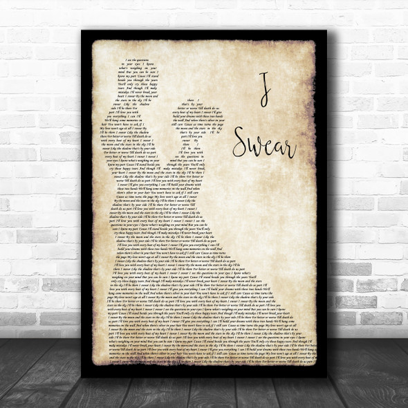 John Michael Montgomery I Swear Man Lady Dancing Song Lyric Wall Art Print