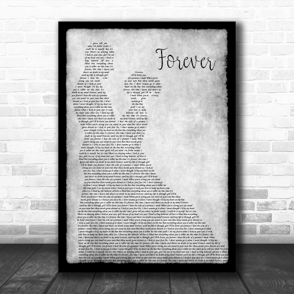Kiss Forever Grey Man Lady Dancing Song Lyric Wall Art Print
