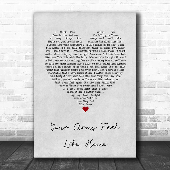 3 Doors Down Your Arms Feel Like Home Grey Heart Song Lyric Wall Art Print