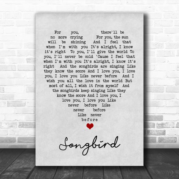 Songbird Fleetwood Mac Grey Heart Song Lyric Music Wall Art Print