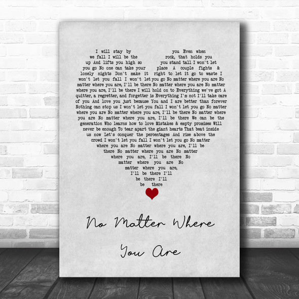 Us The Duo No Matter Where You Are Grey Heart Song Lyric Wall Art Print