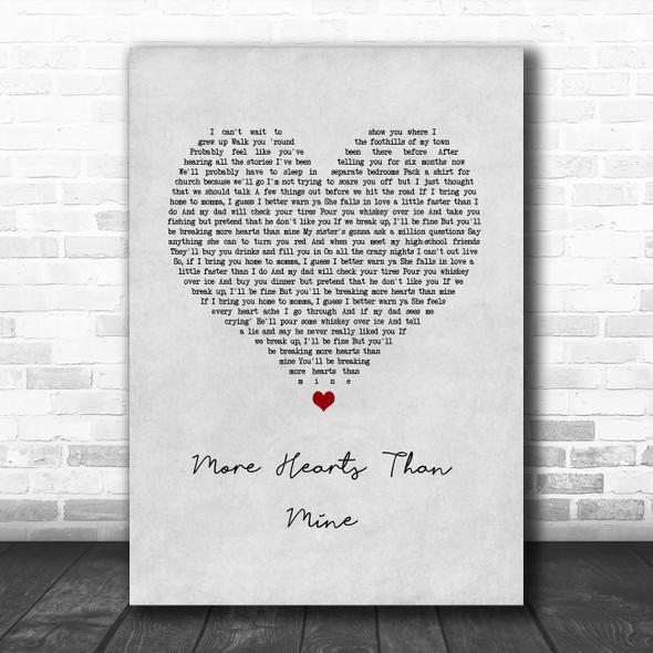 Ingrid Andress More Hearts Than Mine Grey Heart Song Lyric Wall Art Print