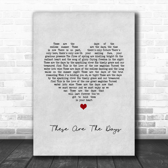 Van Morrison These Are The Days Grey Heart Song Lyric Wall Art Print