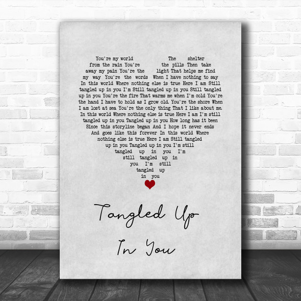 Aaron Lewis Tangled Up In You Grey Heart Song Lyric Wall Art Print