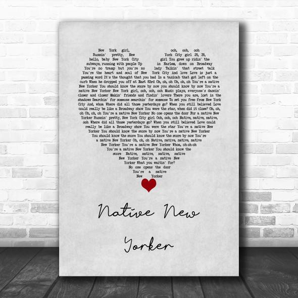 Odyssey Native New Yorker Grey Heart Song Lyric Wall Art Print