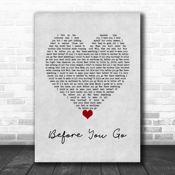 Lewis Capaldi Before You Go Grey Heart Song Lyric Wall Art Print