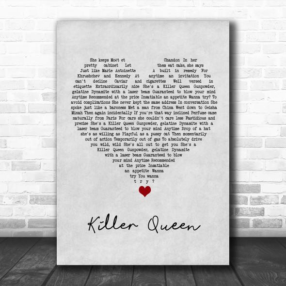 Queen Killer Queen Grey Heart Song Lyric Wall Art Print