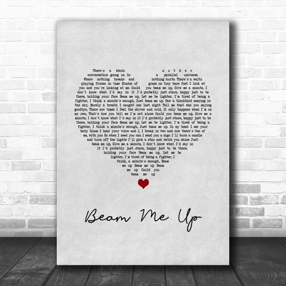 Pink Beam Me Up Grey Heart Song Lyric Wall Art Print