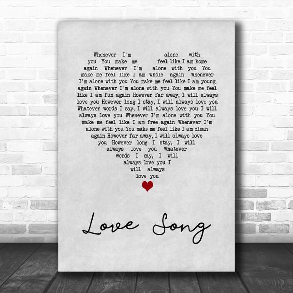 311 Love Song Grey Heart Song Lyric Wall Art Print