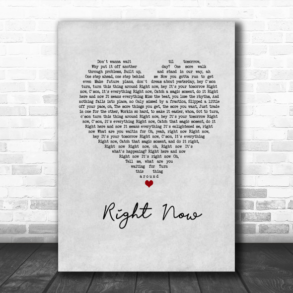 Van Halen Right Now Grey Heart Song Lyric Wall Art Print
