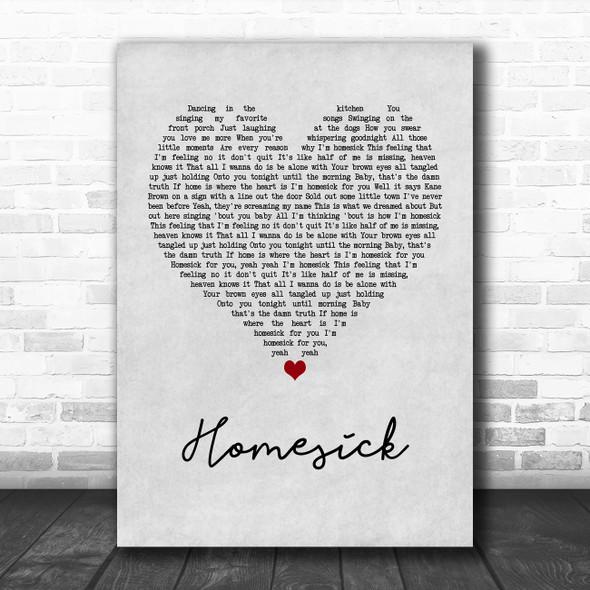 Kane Brown Homesick Grey Heart Song Lyric Wall Art Print