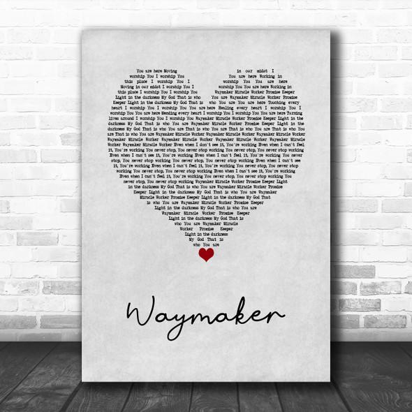 Michael W. Smith Waymaker Grey Heart Song Lyric Wall Art Print