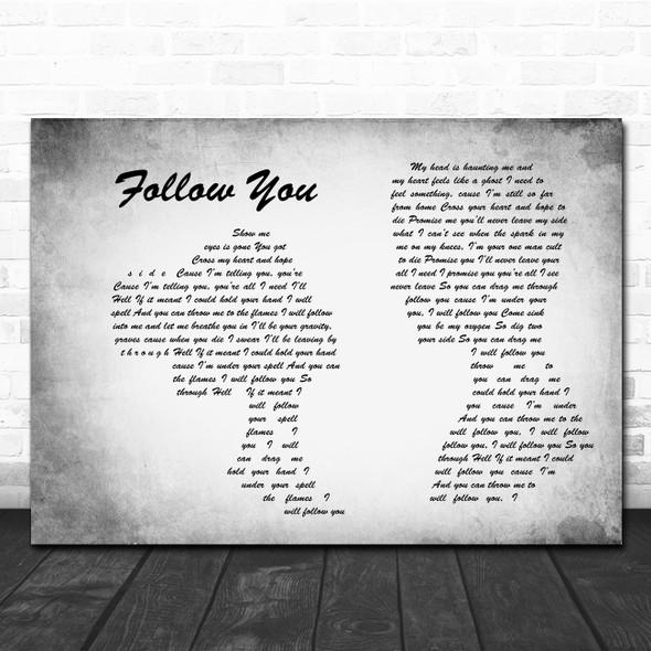 Bring Me The Horizon Follow You Man Lady Couple Grey Song Lyric Wall Art Print