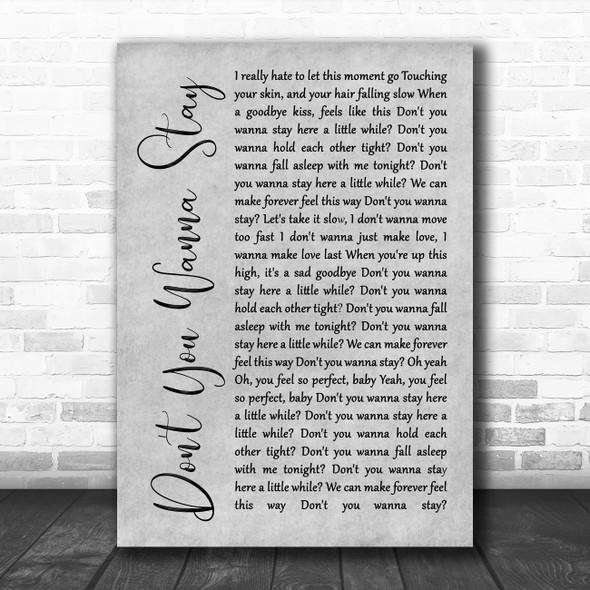 Jason Aldean Ft Kelly Clarkson Don't You Wanna Stay Grey Rustic Script Song Lyric Wall Art Print