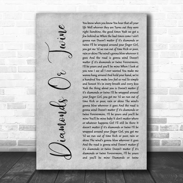 Ryan Hurd Diamonds Or Twine Grey Rustic Script Song Lyric Wall Art Print