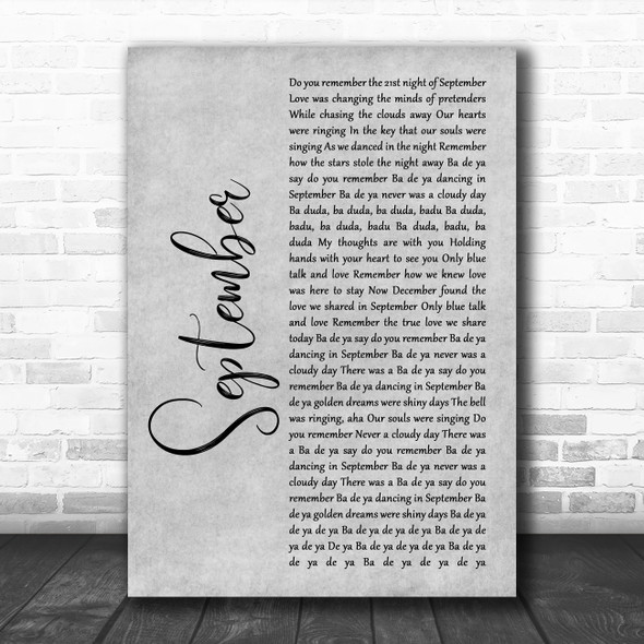 Earth, Wind And Fire September Grey Rustic Script Song Lyric Wall Art Print