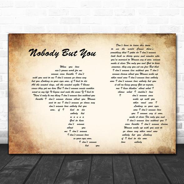 Blake Shelton Nobody But You Man Lady Couple Song Lyric Wall Art Print