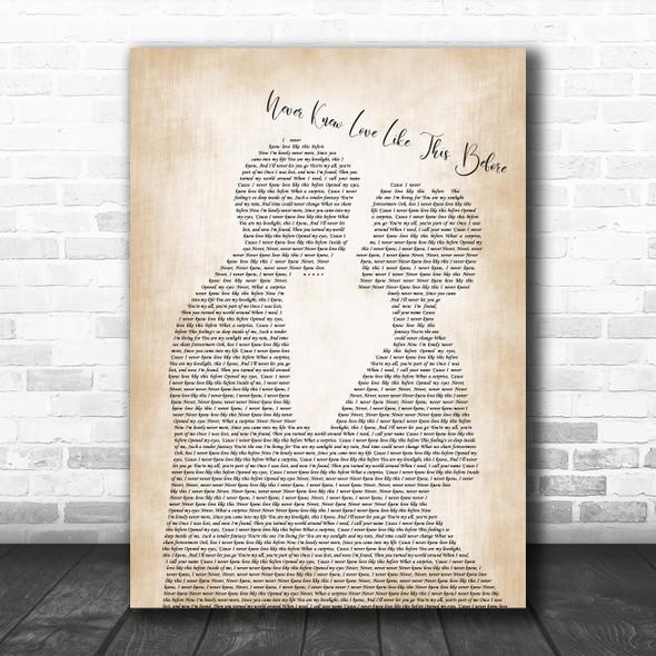 Stephanie Mills Never Knew Love Like This Before Man Lady Bride Groom Wedding Song Lyric Wall Art Print