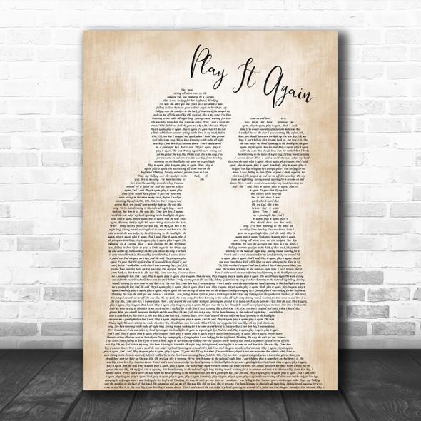 Luke Bryan Play It Again Man Lady Bride Groom Wedding Song Lyric Wall Art Print