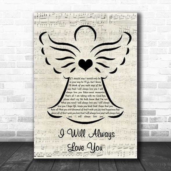 Dolly Parton I Will Always Love You Music Script Angel Song Lyric Wall Art Print