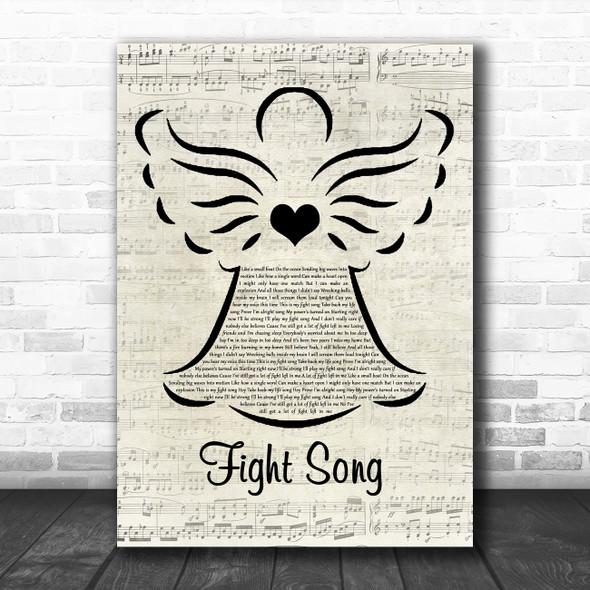 Rachel Platten Fight Song Music Script Angel Song Lyric Wall Art Print