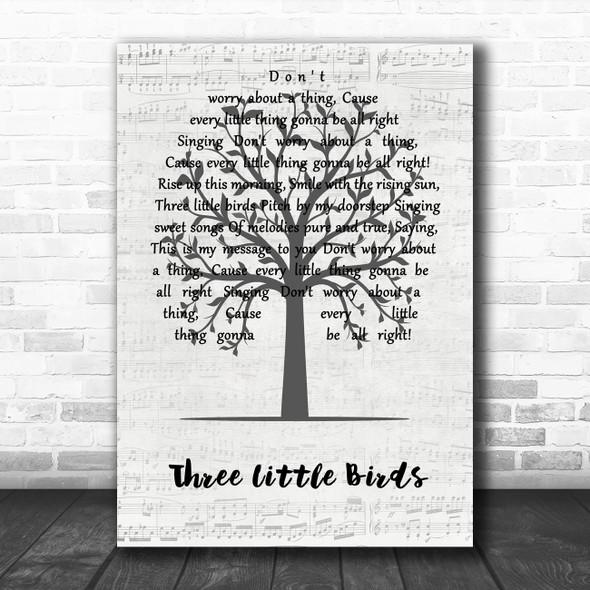 Bob Marley Three Little Birds Music Script Tree Song Lyric Wall Art Print