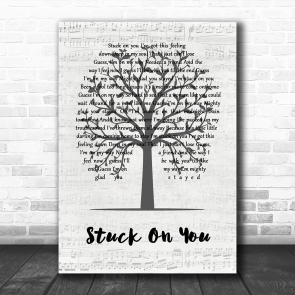 Lionel Richie Stuck On You Music Script Tree Song Lyric Wall Art Print