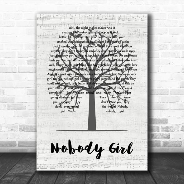 Ryan Adams Nobody Girl Music Script Tree Song Lyric Wall Art Print