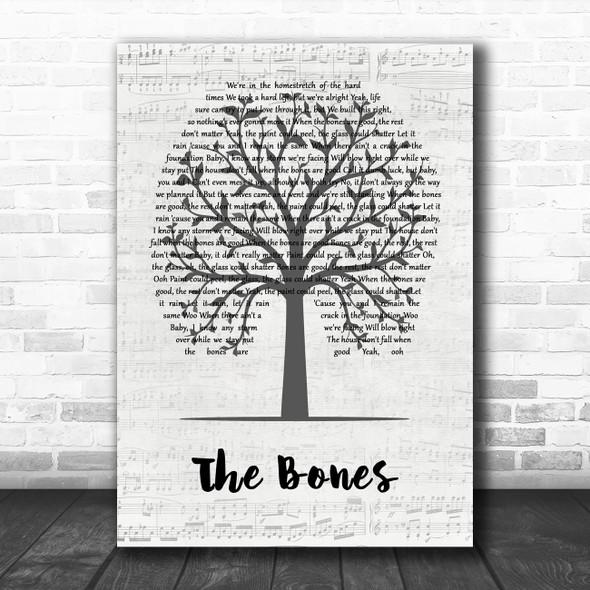 Maren Morris The Bones Music Script Tree Song Lyric Wall Art Print