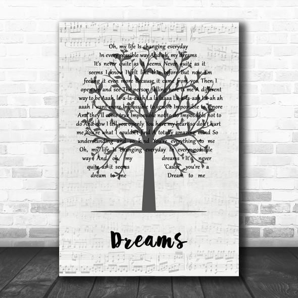 The Cranberries Dreams Music Script Tree Song Lyric Wall Art Print