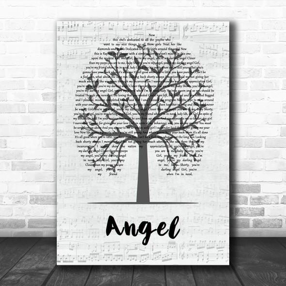 Shaggy Angel Music Script Tree Song Lyric Wall Art Print