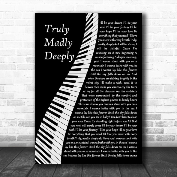 Savage Garden Truly Madly Deeply Piano Song Lyric Wall Art Print