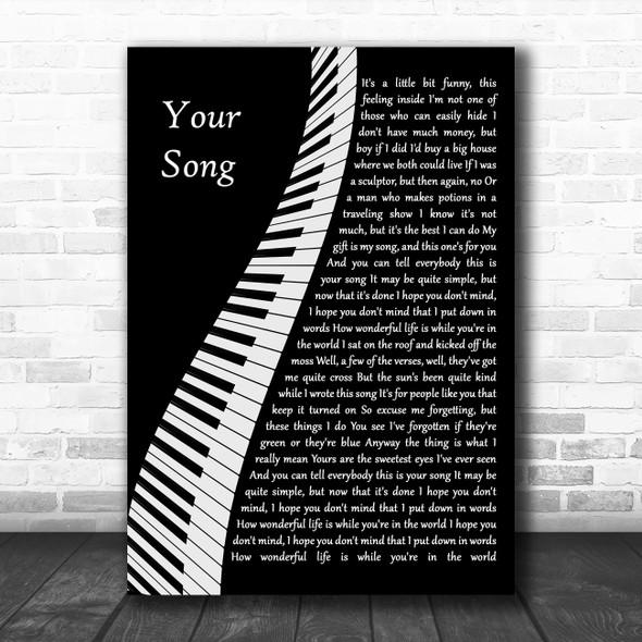 Elton John Your Song Piano Song Lyric Wall Art Print